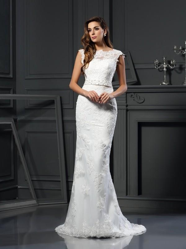 Bateau Court Train Ivory Wedding Dresses with Lace