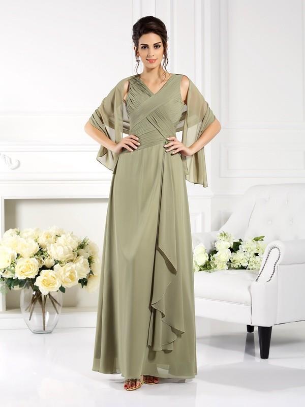 Green V-neck Chiffon Floor-Length Mother of the Bride Dresses
