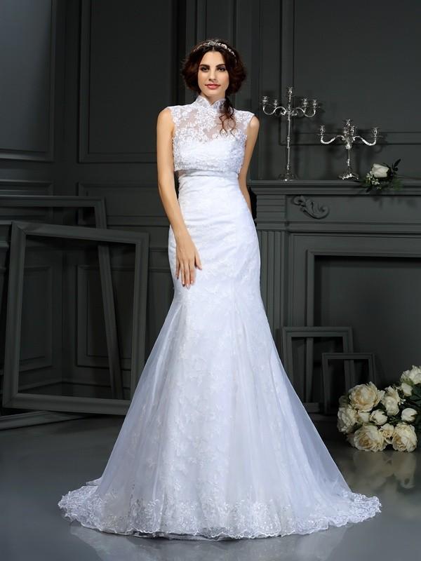 Satin Sweetheart Court Train White Wedding Dresses