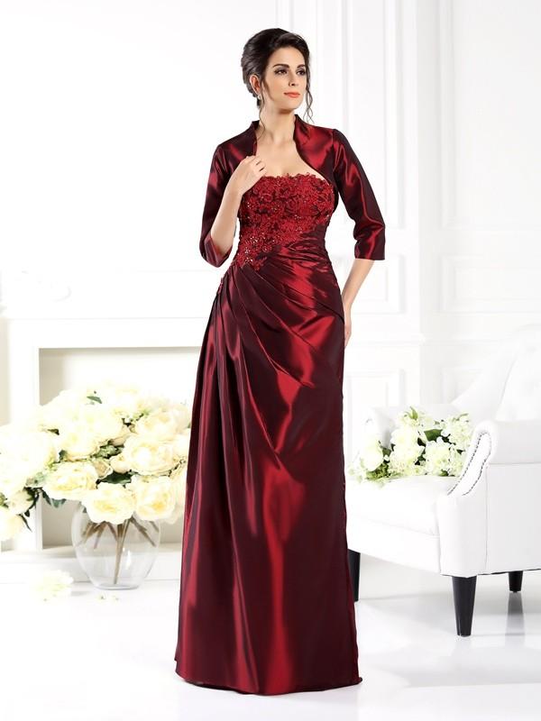 Grape Strapless Taffeta Long Mother of the Bride Dresses