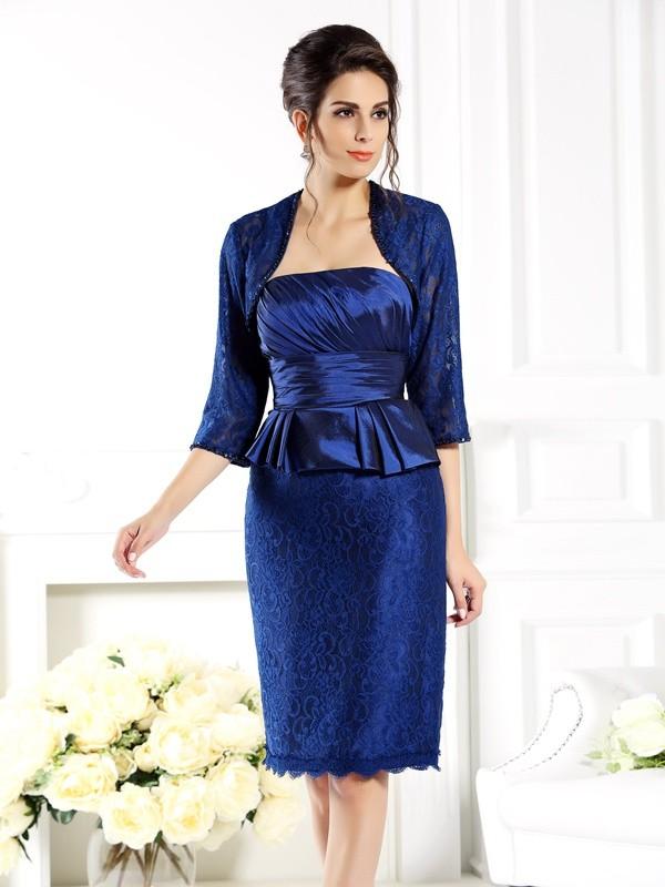Taffeta Strapless Knee-Length Royal Blue Mother of the Bride Dresses