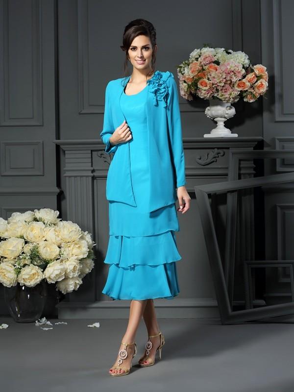 Blue Scoop Chiffon Tea-Length Mother of the Bride Dresses
