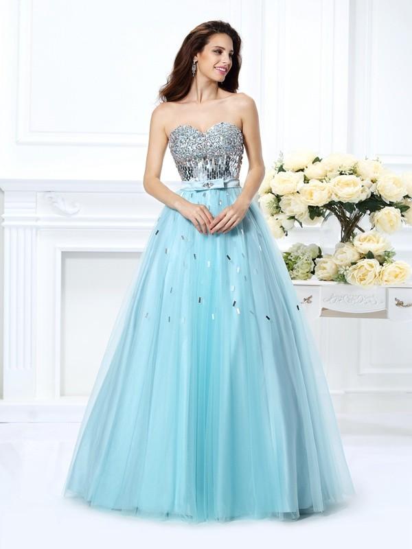 Sweetheart Floor-Length Light Sky Blue Prom Dresses with Beading