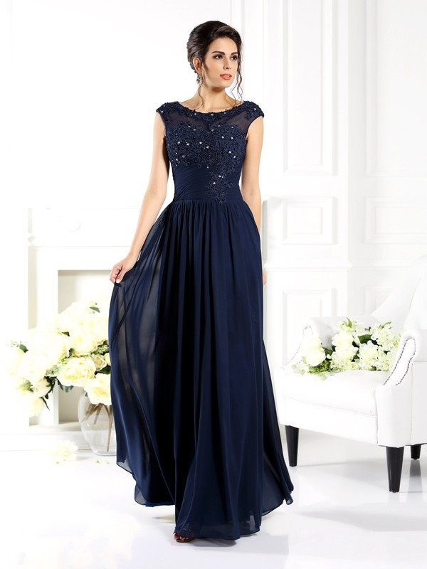 A-Line Scoop Floor-Length Dark Navy Prom Dresses