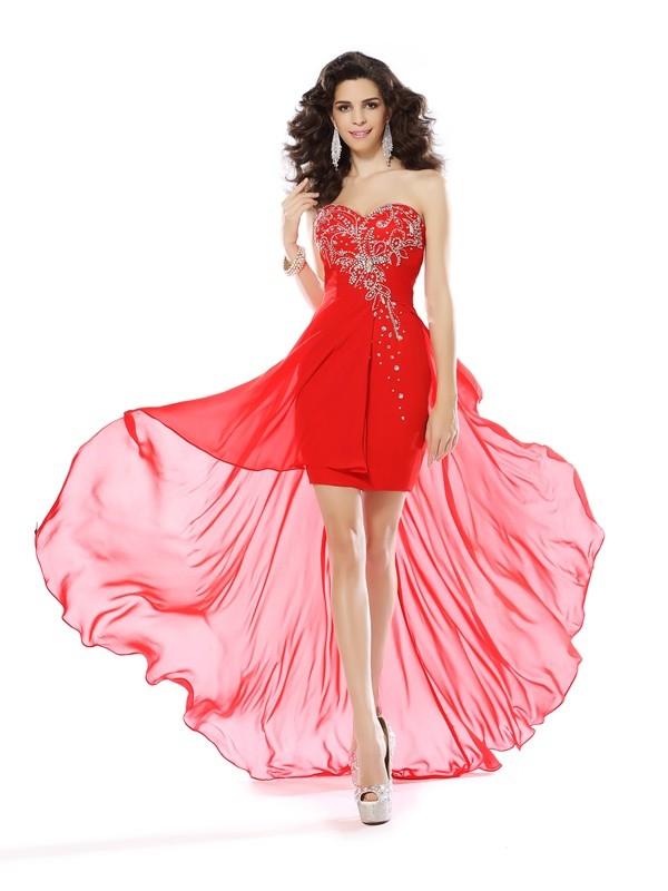 Chiffon Sweetheart Short/Mini Red Homecoming Dresses