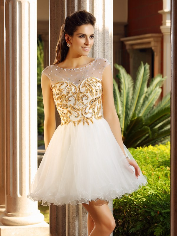 Net Scoop Short/Mini White Homecoming Dresses