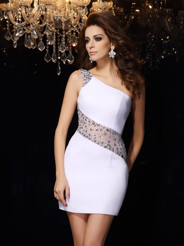 Chiffon Sheath Short/Mini One-Shoulder White Homecoming Dresses