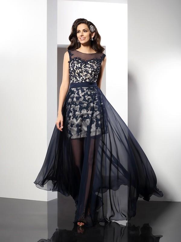Scoop Floor-Length Dark Navy Prom Dresses