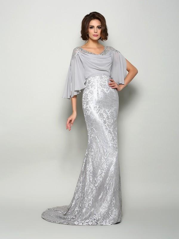 Half Sleeves Mermaid Brush Train Silver Mother of the Bride Dresses