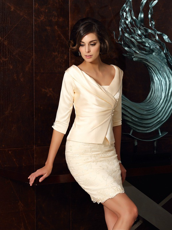 Satin Strapless Short/Mini Mother of the Bride Dresses with Applique