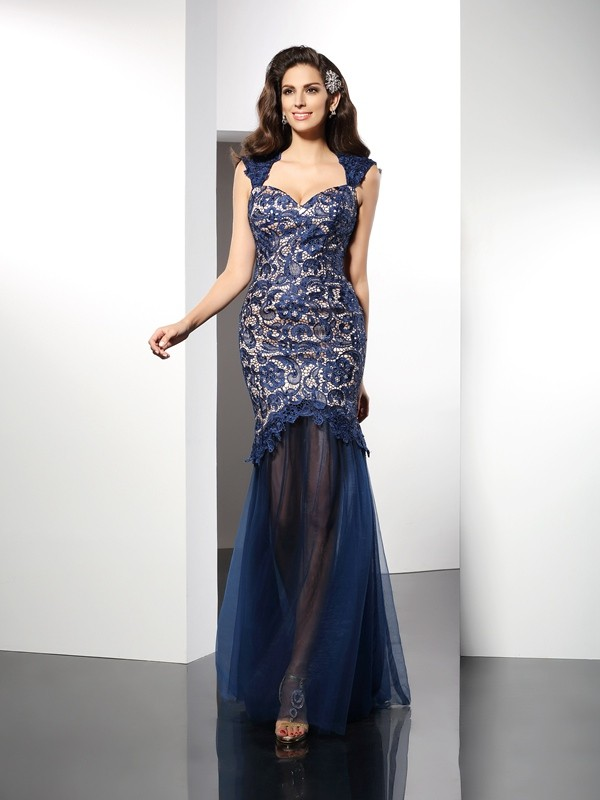 Dark Navy Mermaid Sweetheart Brush Train Prom Dresses with Lace