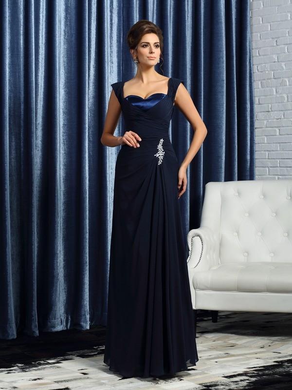 Dark Navy Straps Chiffon Floor-Length Mother of the Bride Dresses