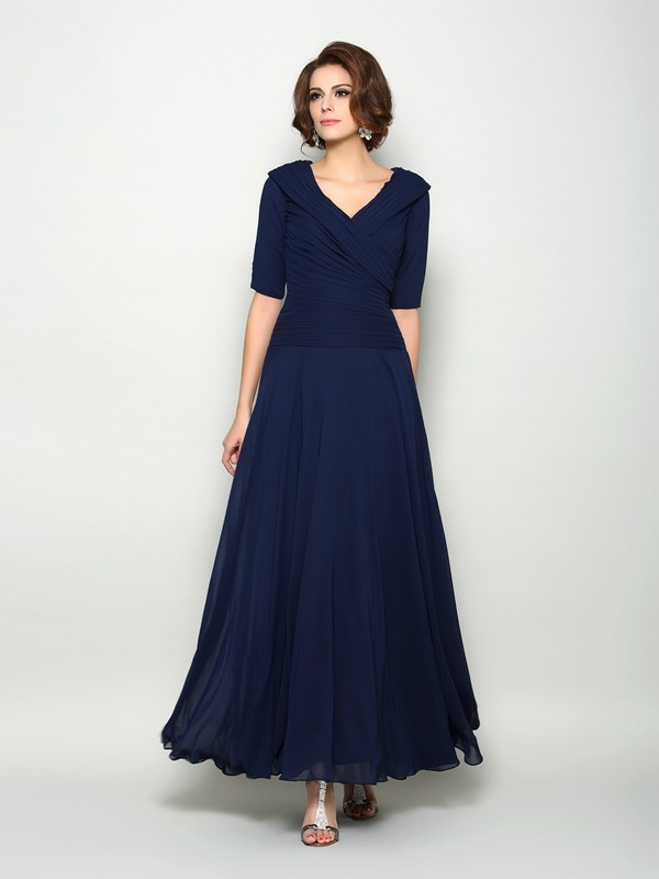 Dark Navy V-neck Chiffon Ankle-Length Mother of the Bride Dresses