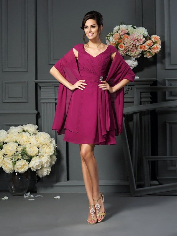 Knee-Length Burgundy V-neck Mother of the Bride Dresses with Pleats