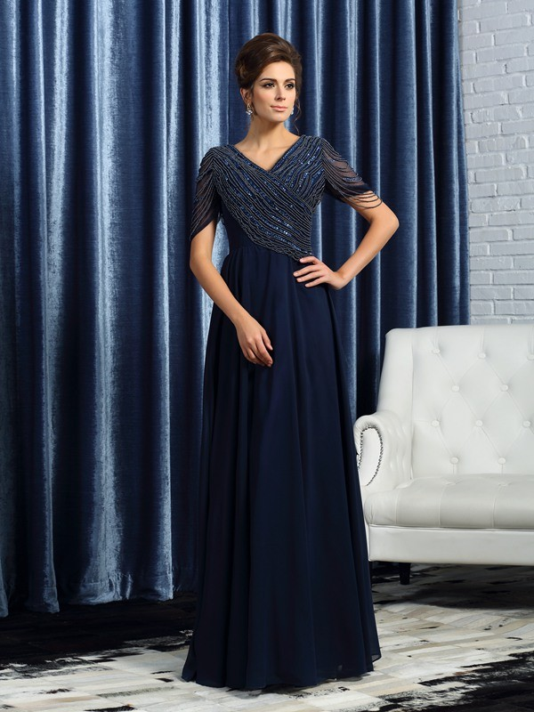 Dark Navy V-neck Floor-Length Mother of the Bride Dresses