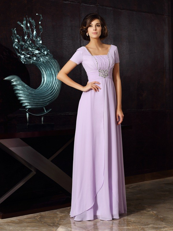 Lavender Square Chiffon Floor-Length Mother of the Bride Dresses