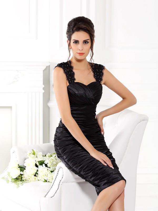 Sheath Straps Knee-Length Black Mother of the Bride Dresses