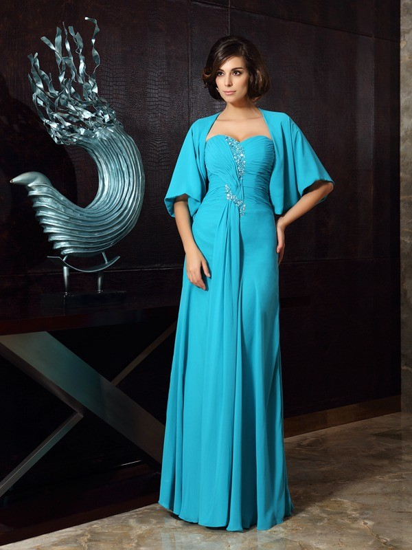 Sheath Sweetheart Floor-Length Green Mother of the Bride Dresses