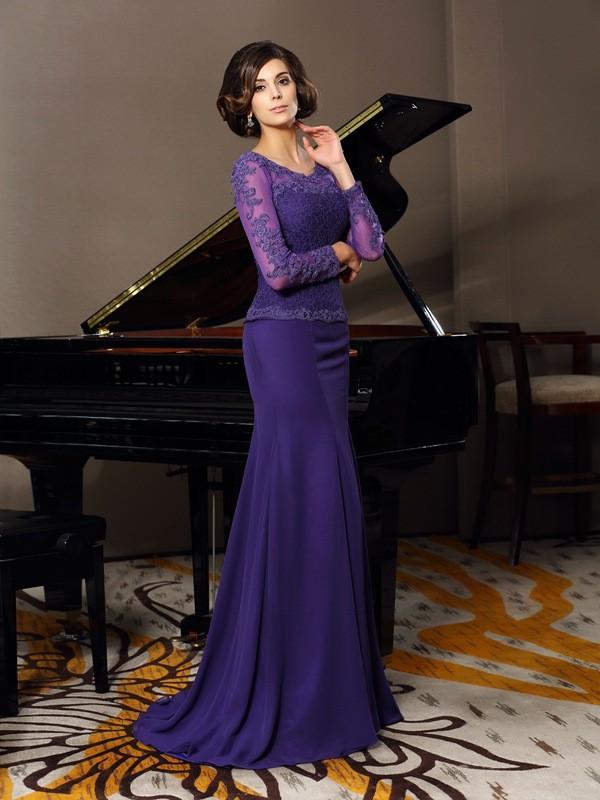 Floor-Length Regency 3/4 Sleeves Scoop Mother of the Bride Dresses with Applique