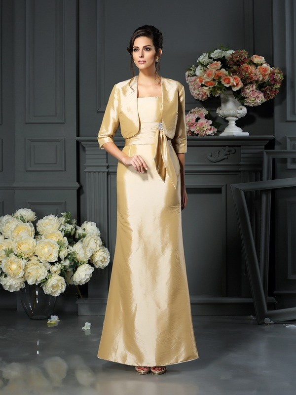 Sheath Straps Ankle-Length Champagne Mother of the Bride Dresses