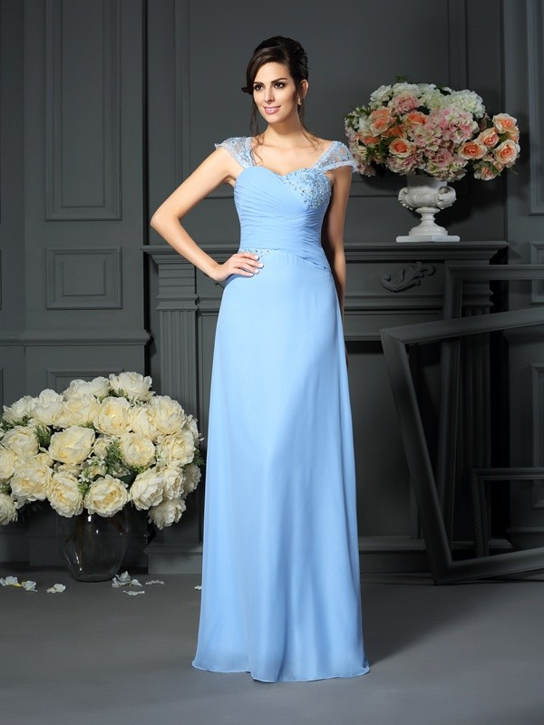Straps Floor-Length Blue Mother of the Bride Dresses with Pleats