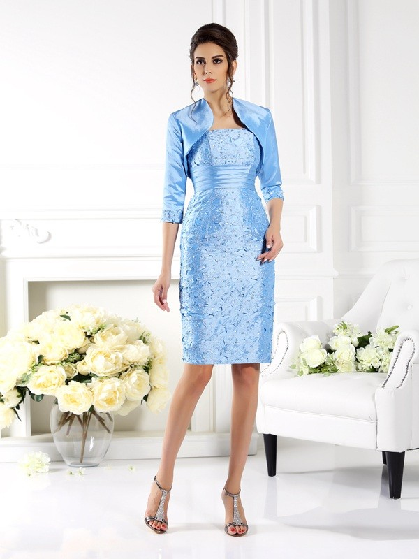 Taffeta Straps Knee-Length Light Sky Blue Mother of the Bride Dresses