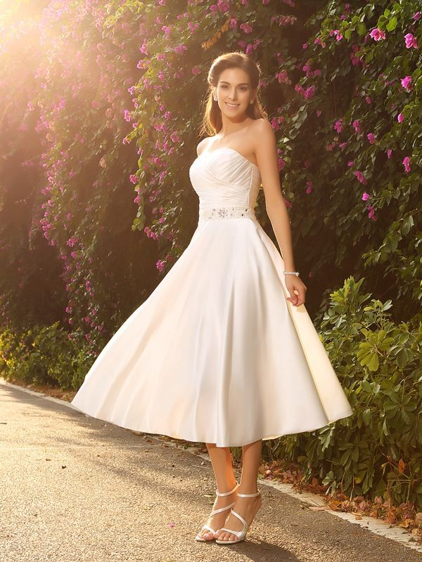 Ivory A-Line Sweetheart Tea-Length Wedding Dresses with Beading