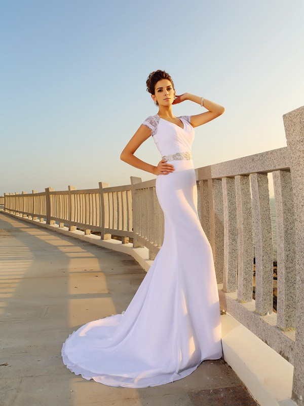 Sheath V-neck Court Train White Wedding Dresses