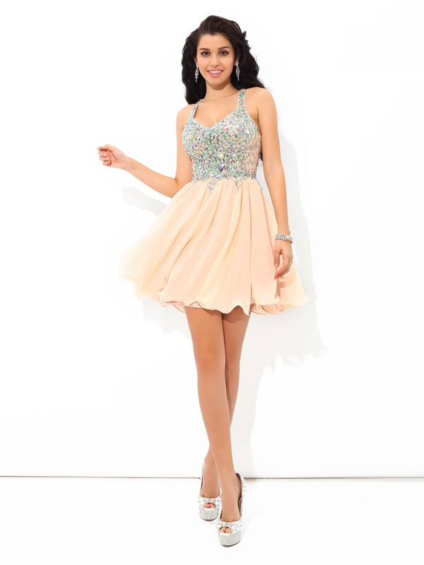 Chiffon Straps Short/Mini Pink Homecoming Dresses