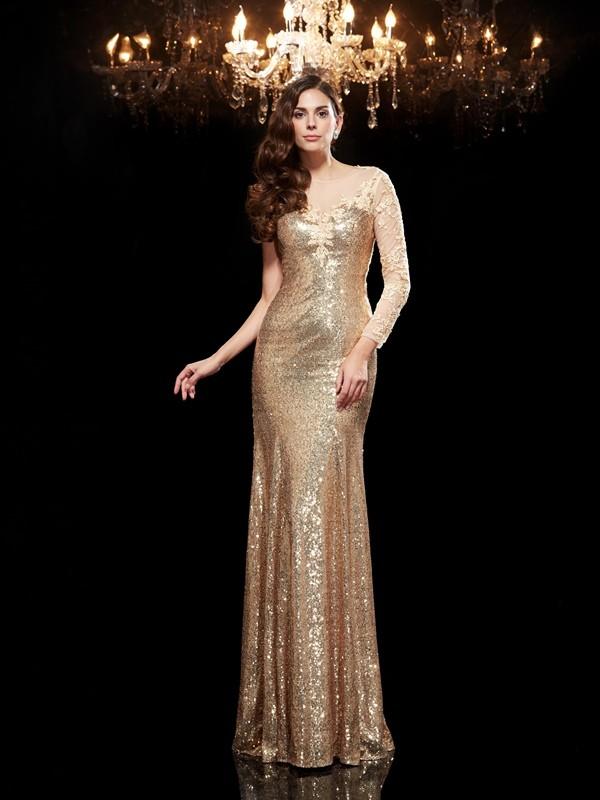 Mermaid Sequins 3/4 Sleeves Scoop Floor-Length Prom Dresses with Lace