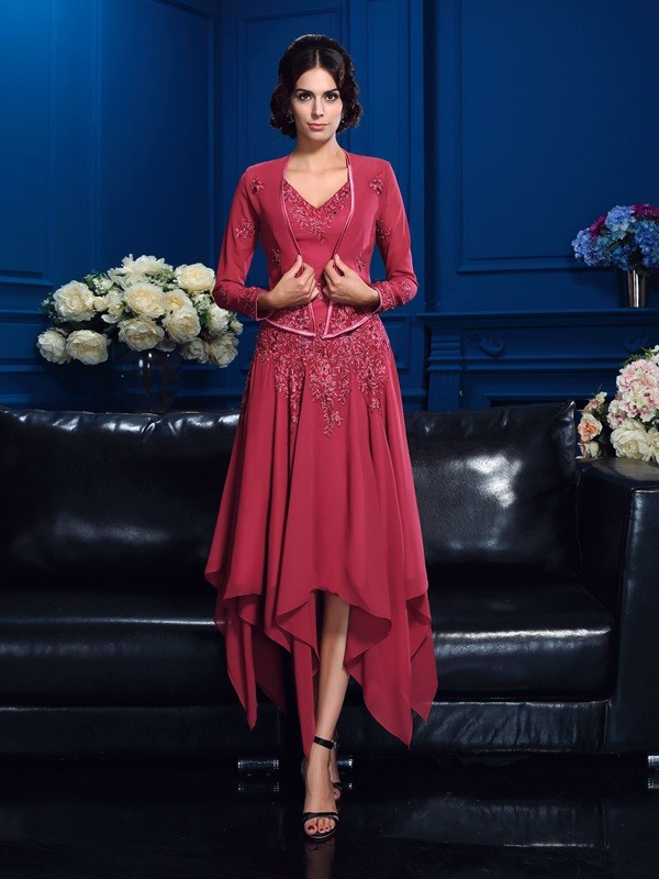 Chiffon V-neck Asymmetrical Red Mother of the Bride Dresses
