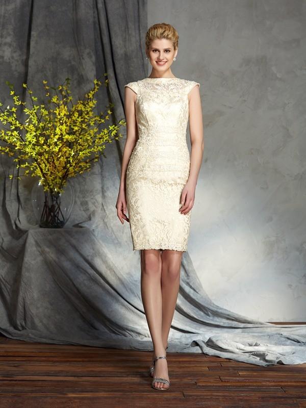 Elastic Woven Satin Short Sleeves Bateau Short/Mini Champagne Mother of the Bride Dresses