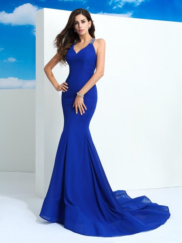 Sheath Chiffon Straps Court Train Royal Blue Prom Dresses