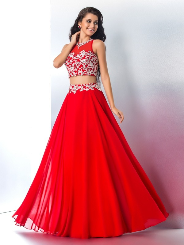 Chiffon Sheer Neck Floor-Length Red Prom Dresses