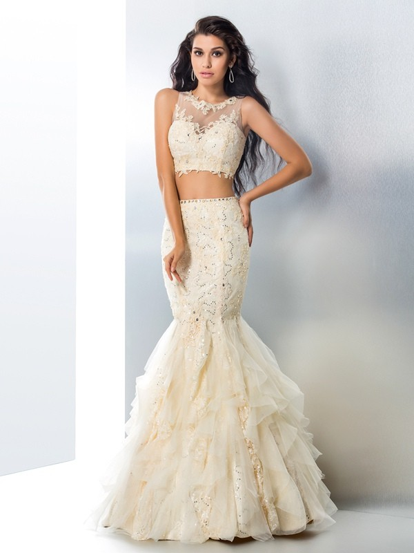 Mermaid Tulle Sheer Neck Floor-Length Champagne Prom Dresses