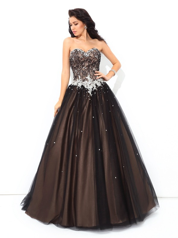 Ball Gown Sweetheart Floor-Length Black Prom Dresses with Beading