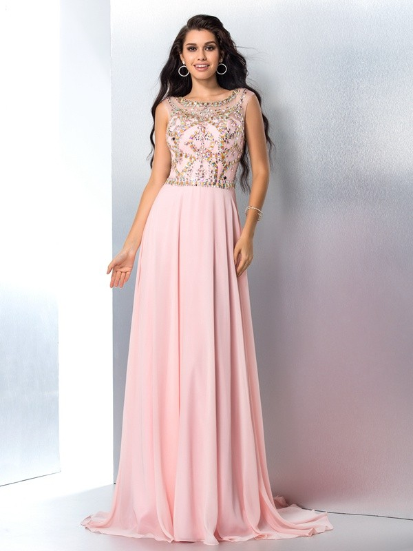 Pink Scoop Chiffon Brush Train Prom Dresses