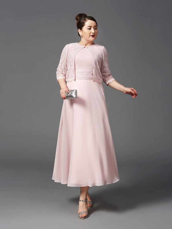 Chiffon Jewel Ankle-Length Pearl Pink Mother of the Bride Dresses