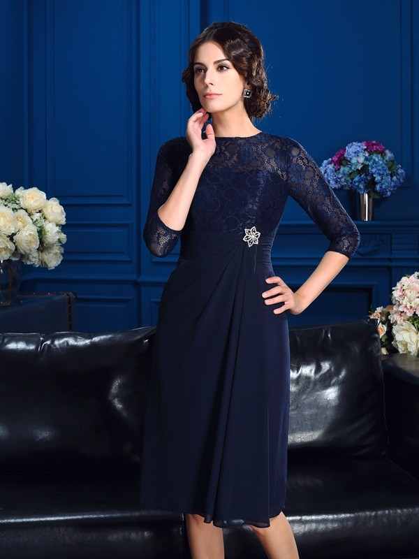 A-Line Jewel Knee-Length Dark Navy Mother of the Bride Dresses