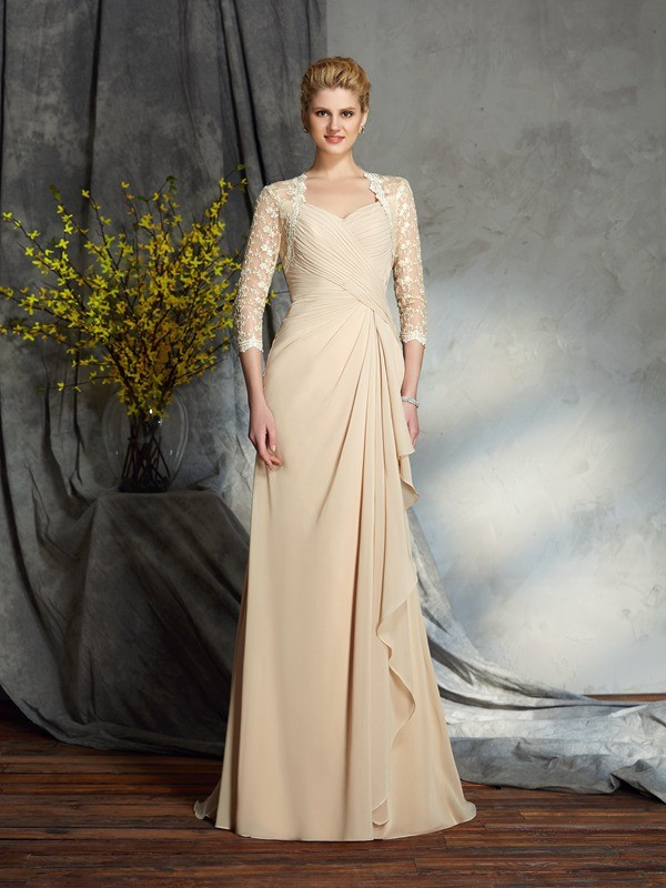 Brush Train 3/4 Sleeves Champagne Mother of the Bride Dresses