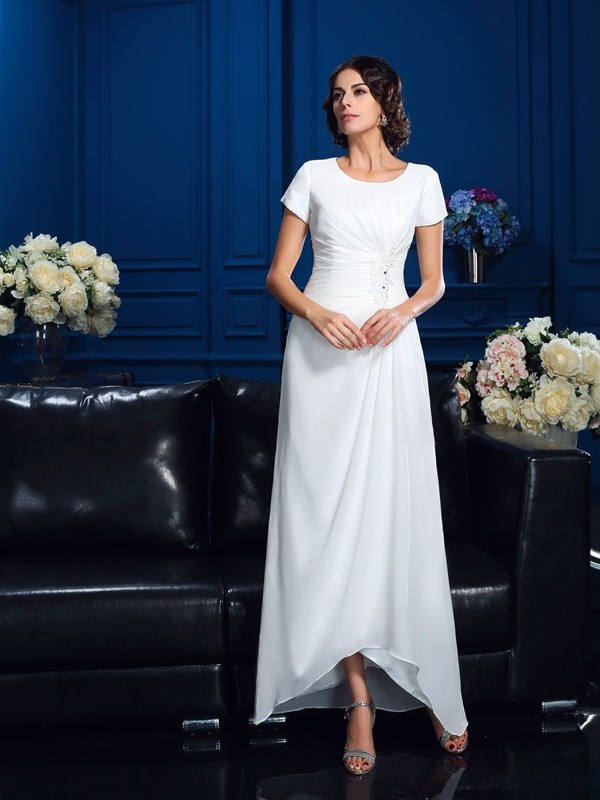 Short Sleeves Scoop Asymmetrical White Mother of the Bride Dresses