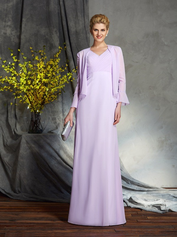Sheath V-neck Floor-Length Lavender Mother of the Bride Dresses