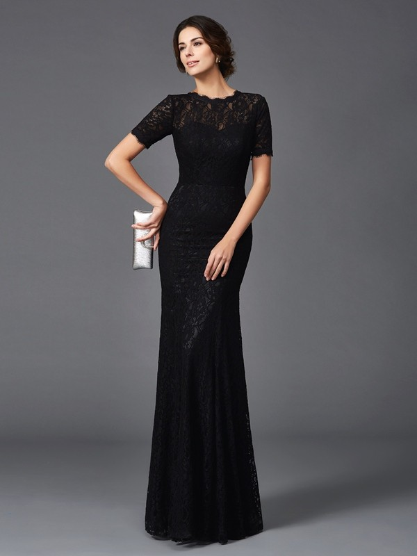 Elastic Woven Satin Jewel Floor-Length Black Mother of the Bride Dresses
