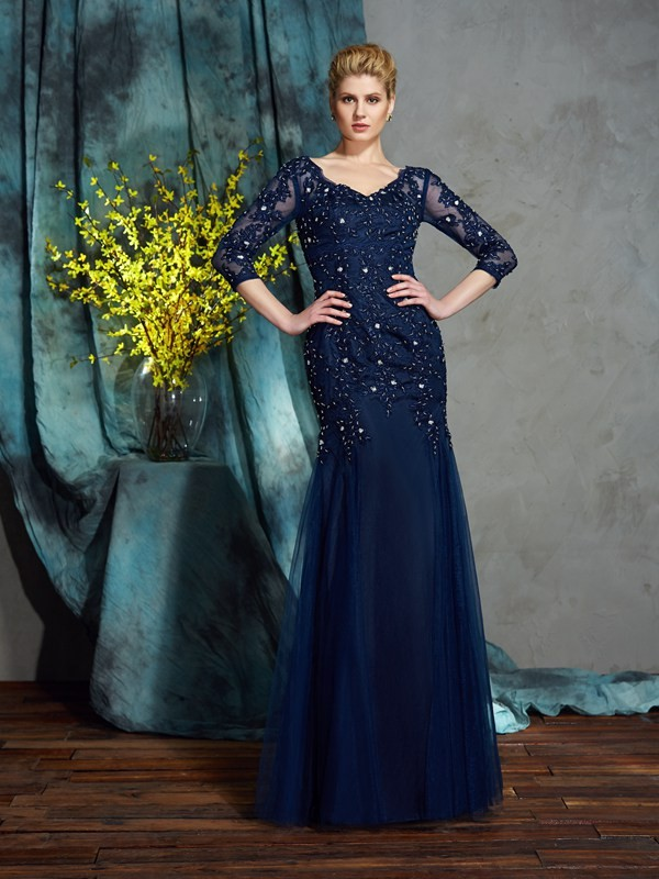 Dark Navy Sheath V-neck Floor-Length Mother of the Bride Dresses with Applique