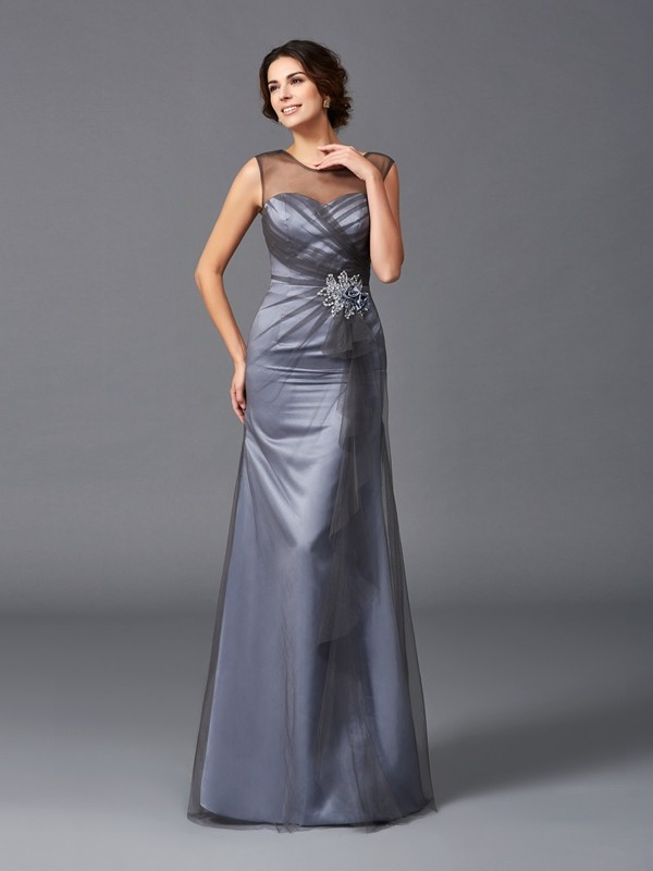 Sheath Net Scoop Floor-Length Grey Mother of the Bride Dresses