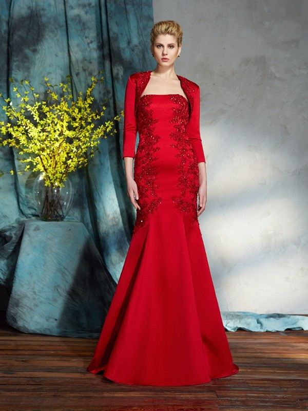 Red Strapless Satin Floor-Length Mother of the Bride Dresses