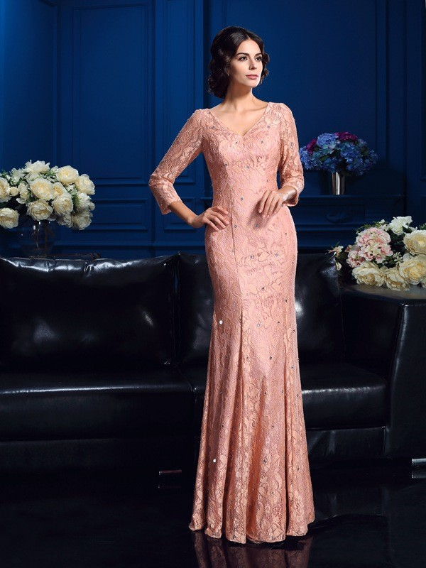 Lace 3/4 Sleeves V-neck Floor-Length Other Mother of the Bride Dresses