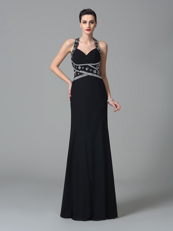 Chiffon Straps Floor-Length Black Prom Dresses