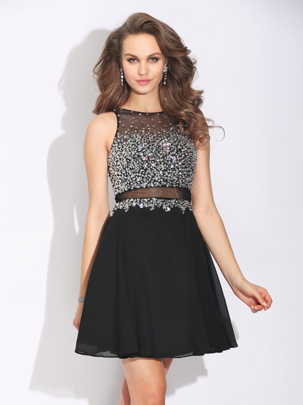 Jewel Short/Mini Black Prom Dresses with Beading