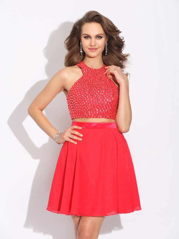 Red A-Line Jewel Short/Mini Prom Dresses with Crystal